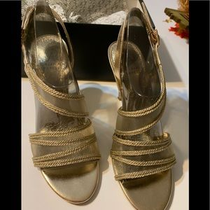Gold heels Sandals worn once